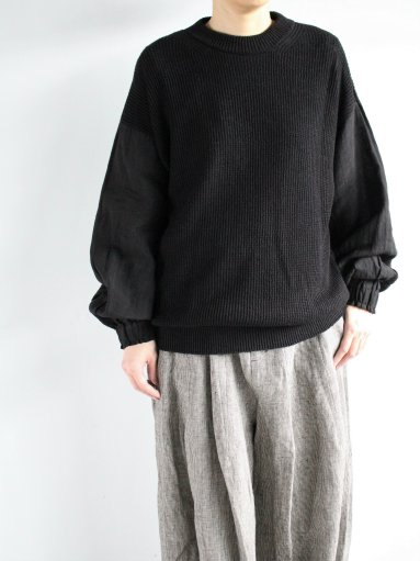 FACTORY KNIT × SHIRT / COTTON LINEN × BELGJAN LINEN - BLACK (LADIES)