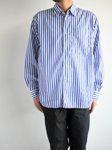 Sans limite BOX REGULAR COLLAR SHIRT / TWIN NEEDLE - STRIPE (MENS)