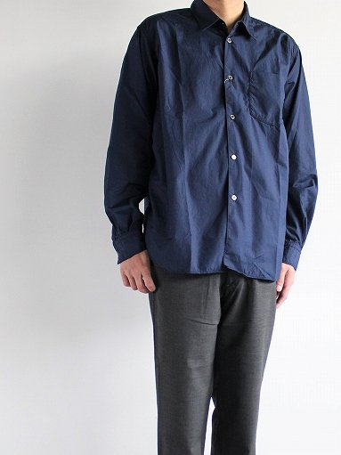 Sans limite BOX REGULAR COLLAR SHIRT / TWIN NEEDLE - NAVY (MENS)