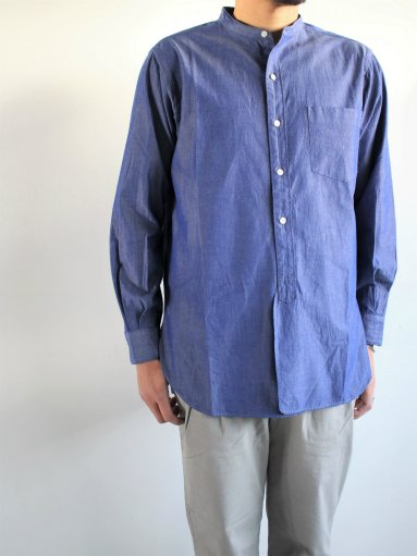blurhms Polish Chambray Band Collar Shirt L/S - CHM-Navy (MENS)