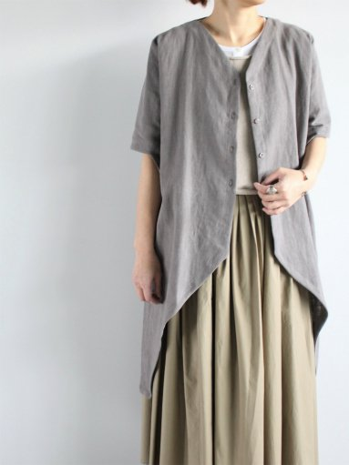Worker's Nobility V long shirt / Nartural stone 100% linen (LADIES)