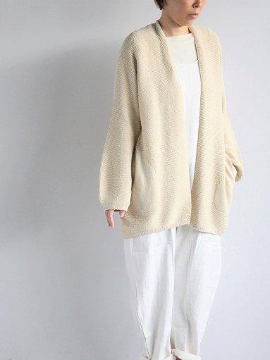 unfil mulberry & raw silk knit cardigan / ecru (LADIES)