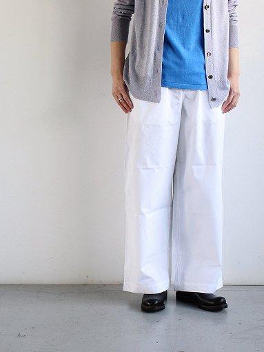 eleven 2nd Fine Cotton Poplin Wide Pants / White (LADIES)