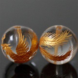 金彫り水晶4A 朱雀