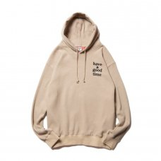 (have a good time) LOGO THERMAL PULLOVER HOODIE - BEIGE