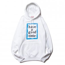 (have a good time) BLUE FRAME PULLOVER HOODIE - WHITE