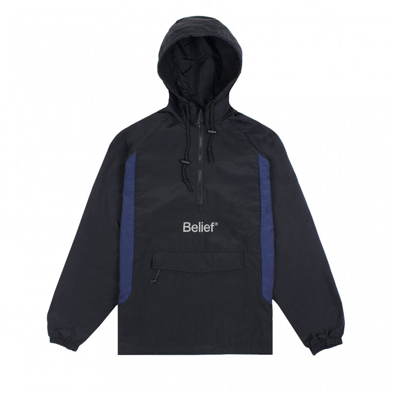 <img class='new_mark_img1' src='https://img.shop-pro.jp/img/new/icons5.gif' style='border:none;display:inline;margin:0px;padding:0px;width:auto;' />(Belief NYC) WEATHERPROOF LOGO ANORAK - BLACK / NAVY