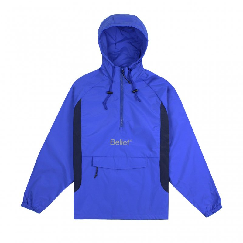 (Belief NYC) WEATHERPROOF LOGO ANORAK - ROYAL / NAVY