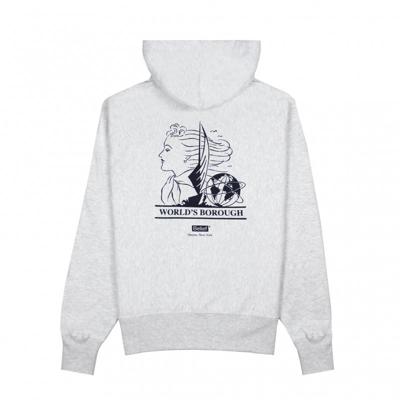 (Belief NYC) WORLD'S BOROUGH CHAMPION HOODY - ASH