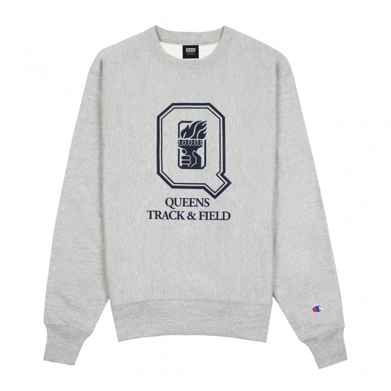 (Belief NYC) VARSITY CHAMPION CREWNECK - HEATHER GREY