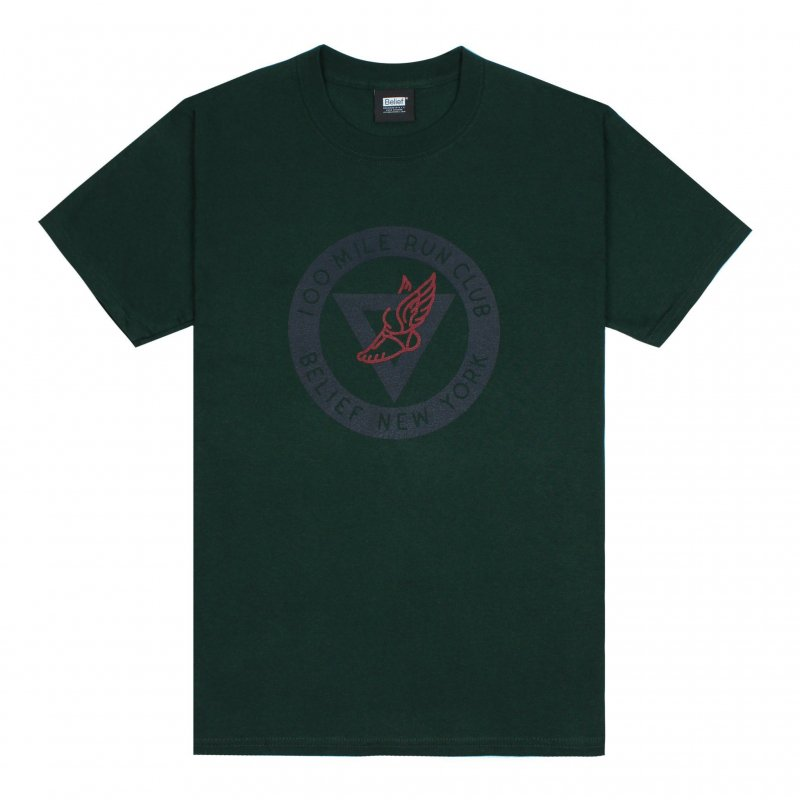 (Belief NYC) RUN CLUB TEE - HUNTER