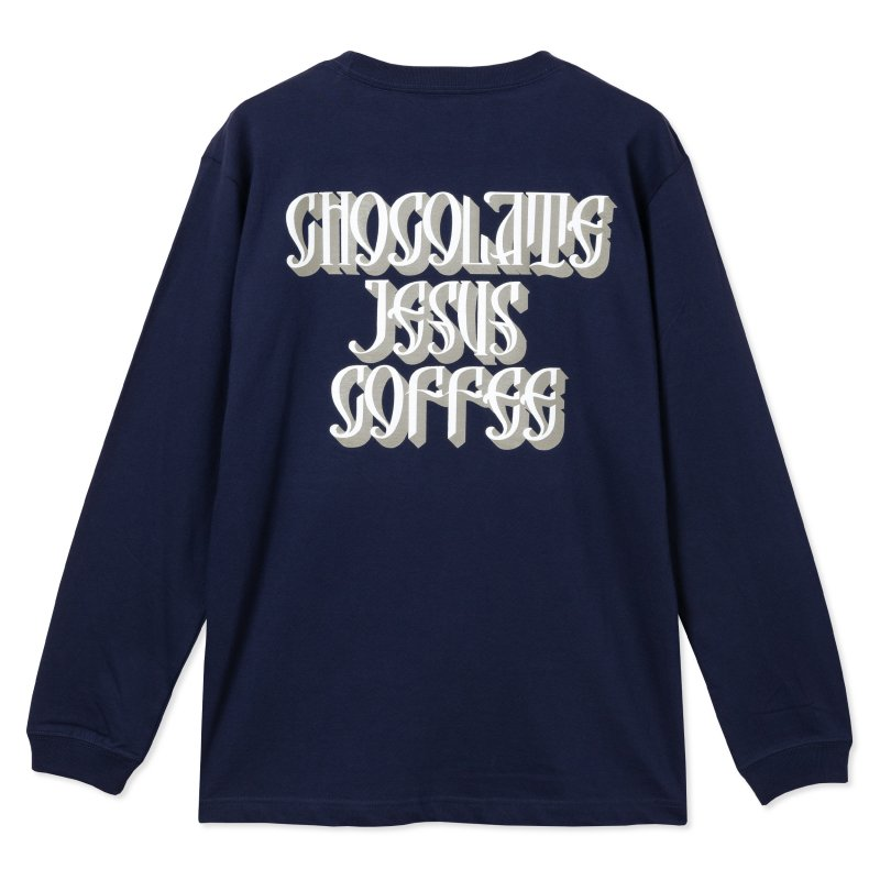 (Chocolate Jesus Coffee) CJC Fancy Logo LS Tee - Navy
