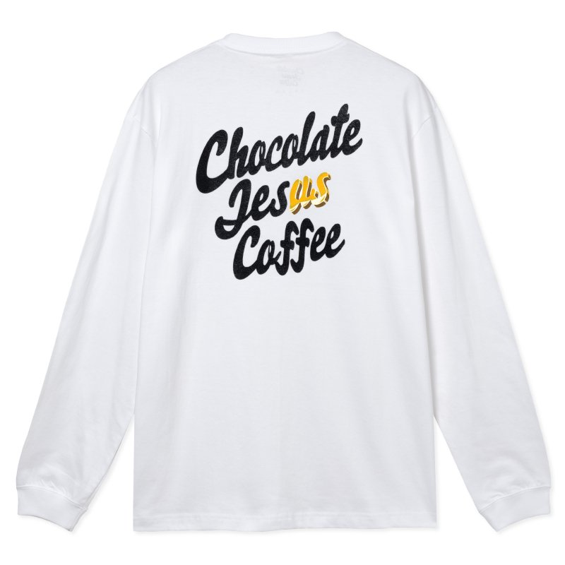 (Chocolate Jesus Coffee) Don't Steal It Again L/S Tee - White