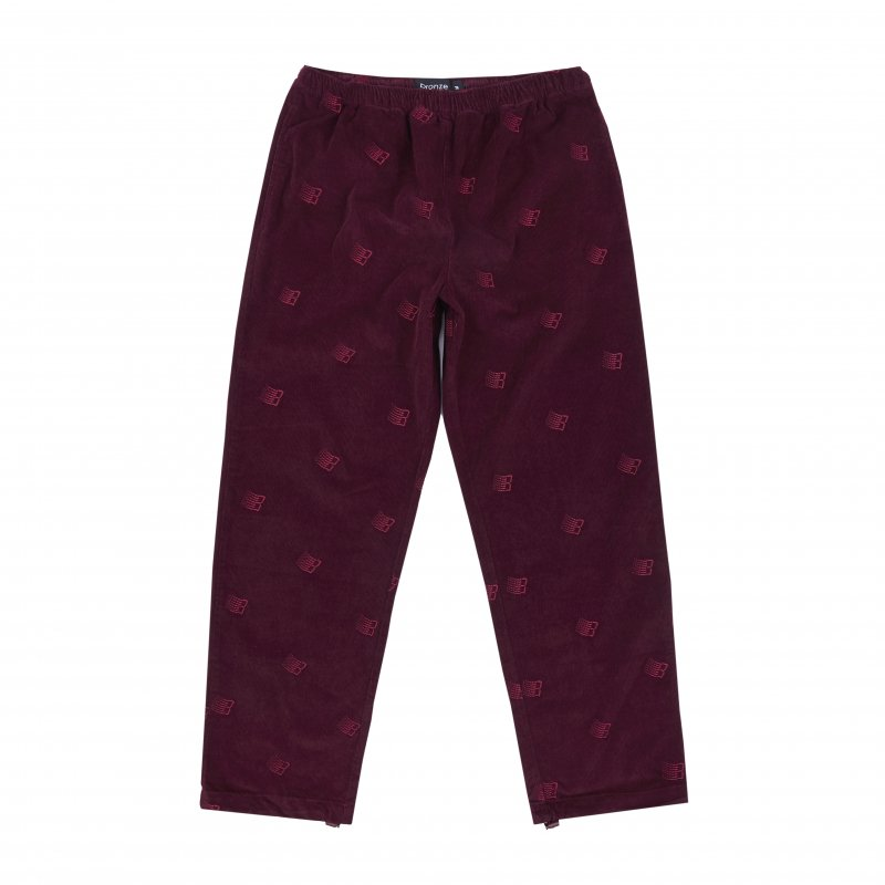 (BRONZE56K) ALLOVER EMBROIDERED PANT - MAROON