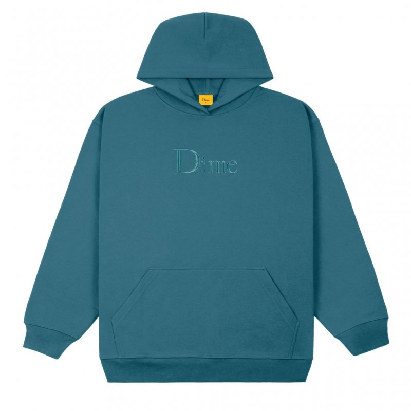 (Dime MTL) Dime Classic Embroidered Hoodie - Real Teal
