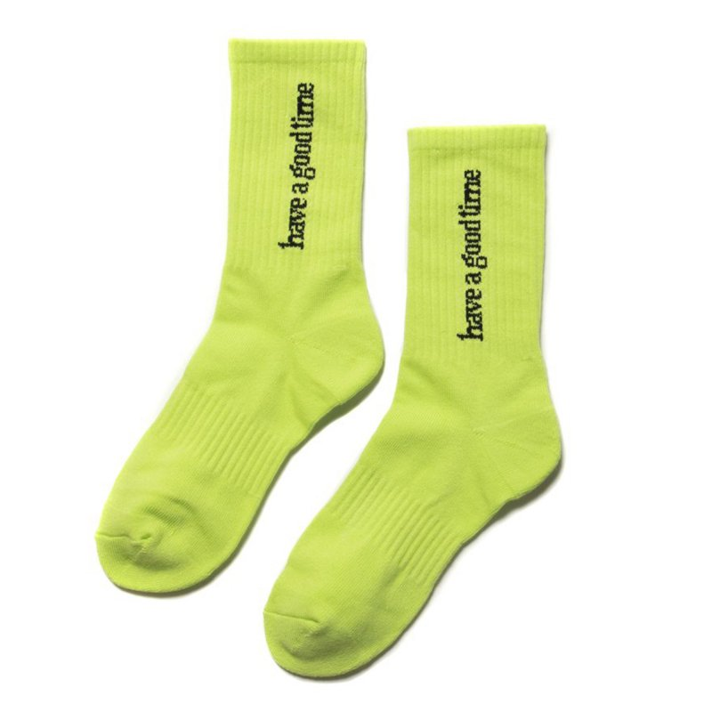 (have a good time) SIDE LOGO SOCKS - NEON GREEN