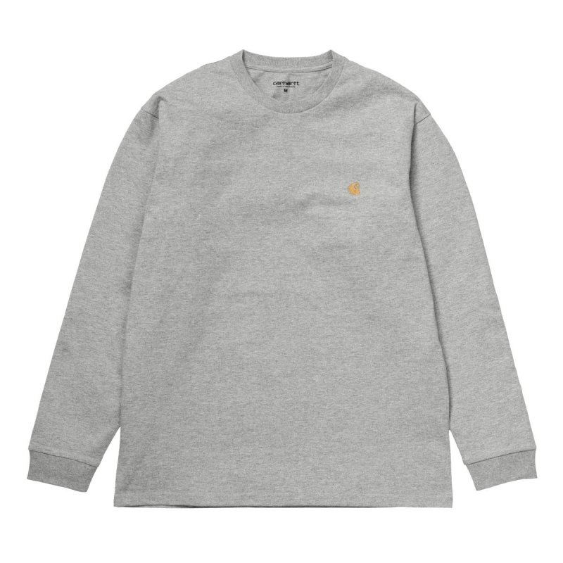 (Carhartt WIP) L/S CHASE T-SHIRT - Grey Heather / Gold