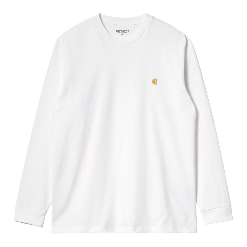 (Carhartt WIP) L/S CHASE T-SHIRT - White / Gold