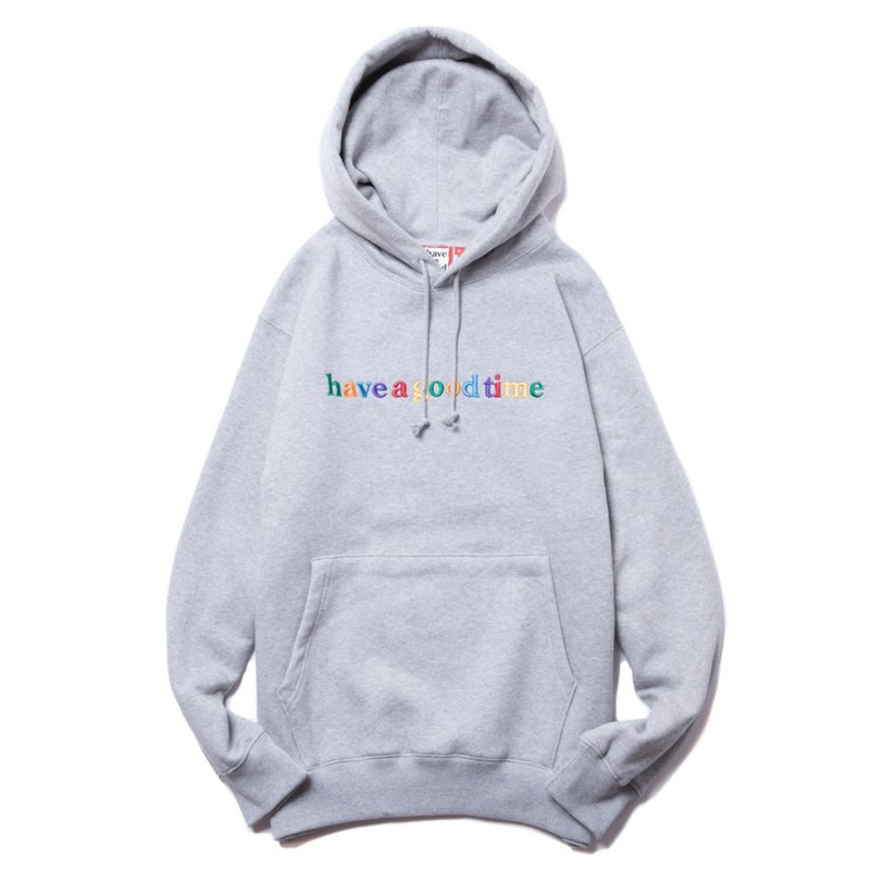(have a good time) COLORFUL SIDE LOGO PULLOVER HOODIE - HEATHER GRAY