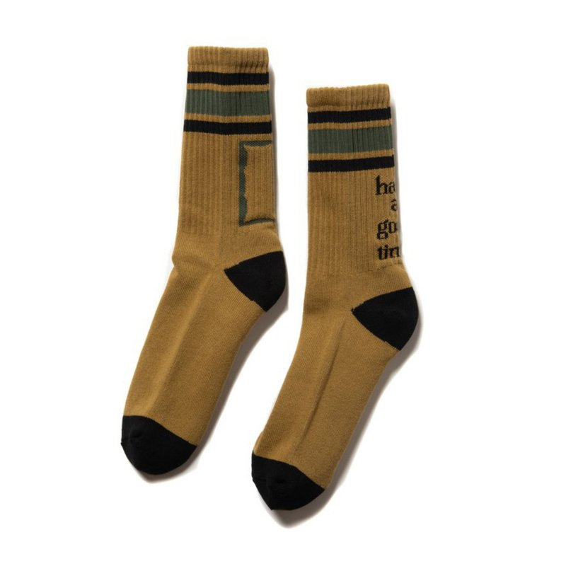 (have a good time) MILITARY FRAME LINE SOCKS - MILITARY BEIGE