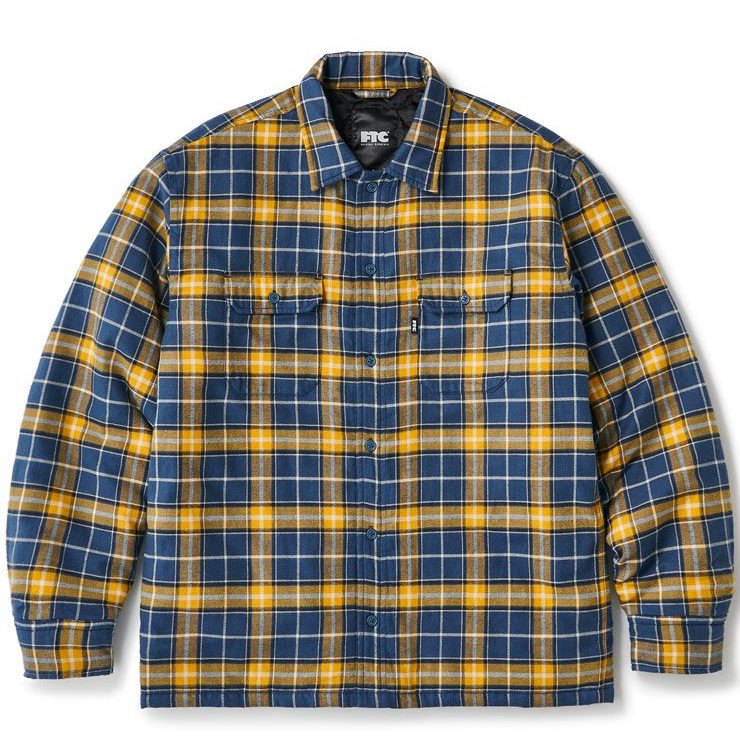 (FTC) QUILTED LINED PLAID NEL SHIRT - YELLOW