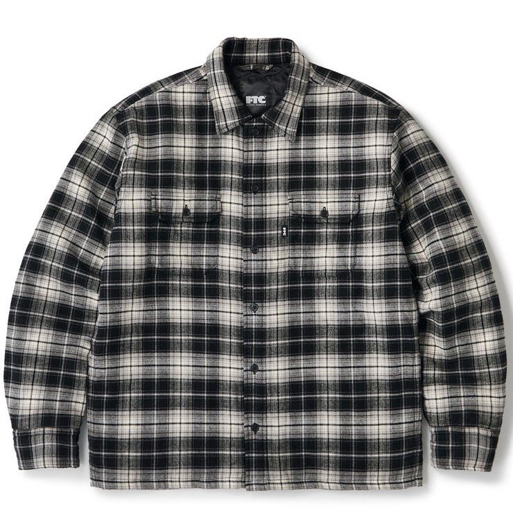 (FTC) QUILTED LINED PLAID NEL SHIRT - BLACK