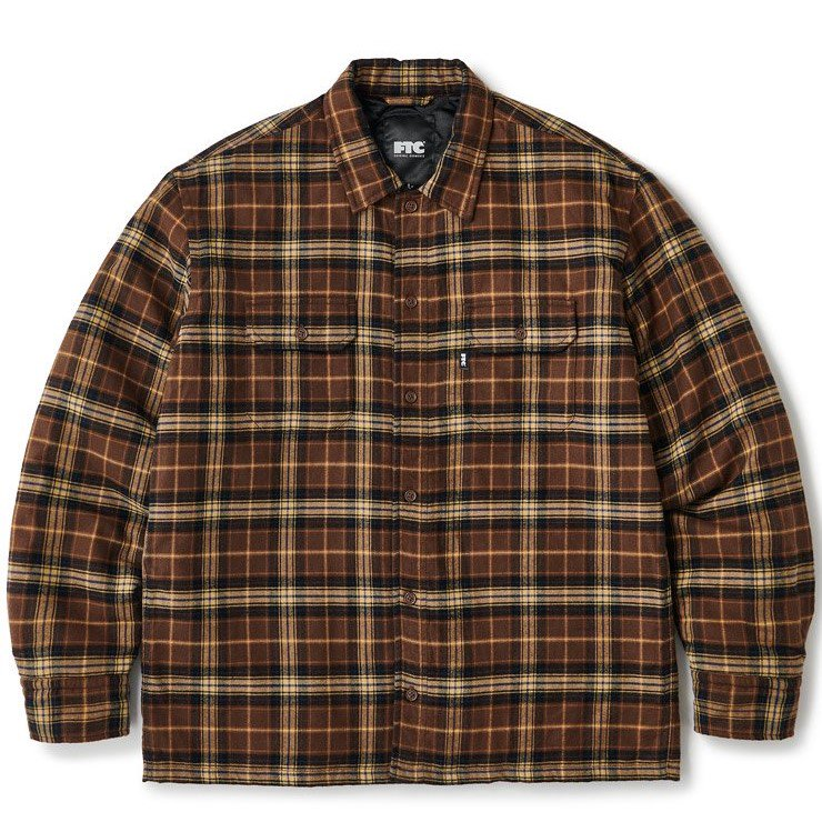 (FTC) QUILTED LINED PLAID NEL SHIRT - BROWN