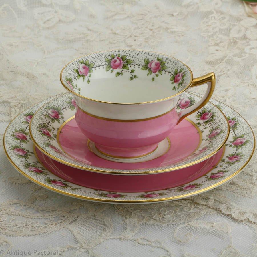 エインズレイ 白とピンクのツートン 薔薇のトリオ