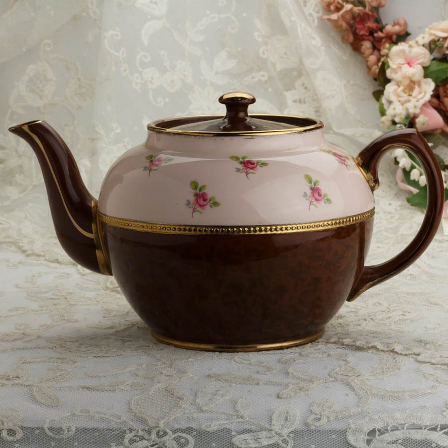 ジェームズ・サドラー ブラウンベティー ピンクの薔薇 ティーポット ペールピンク