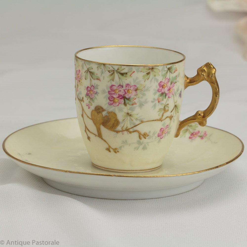 リモージュ Charles Martin 「金の小鳥」 素敵なデミタス 1891年以降