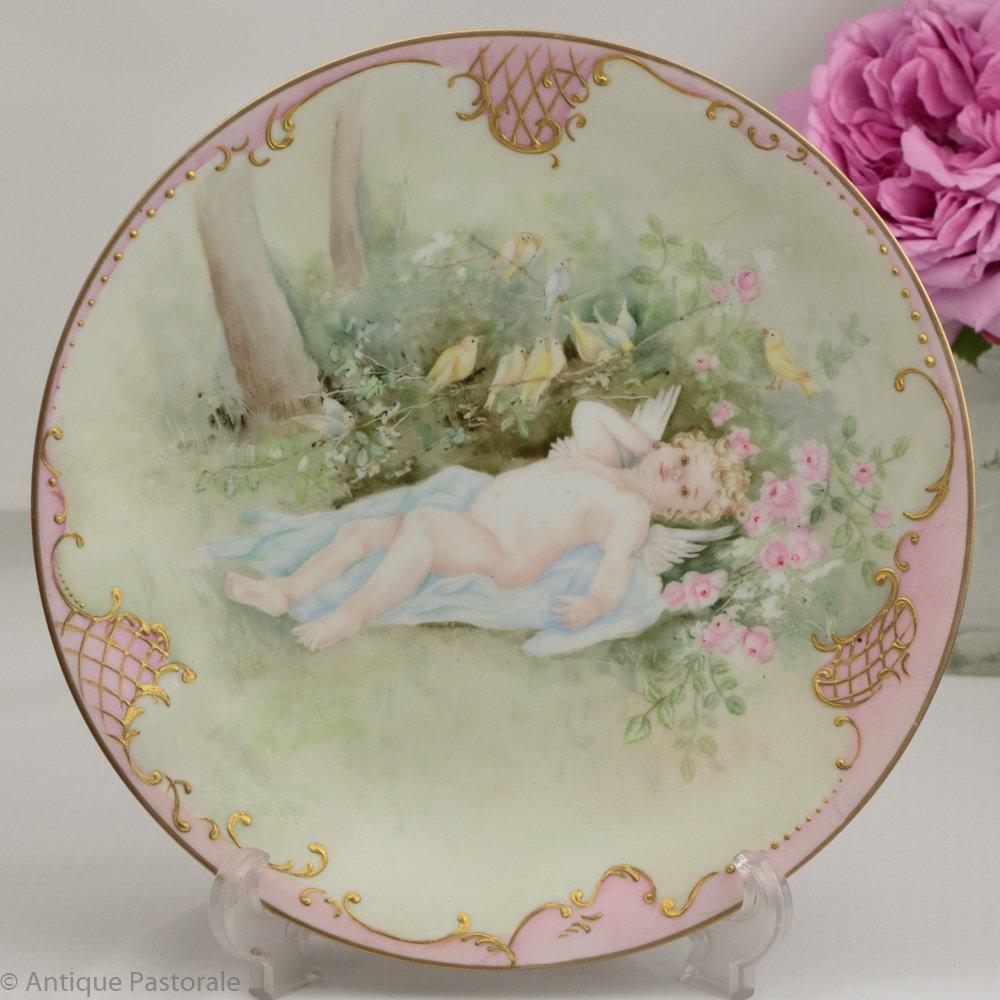 リモージュ エリートワークス マルシャル・ルドン ハンドペイント「天使とカナリア」飾り皿