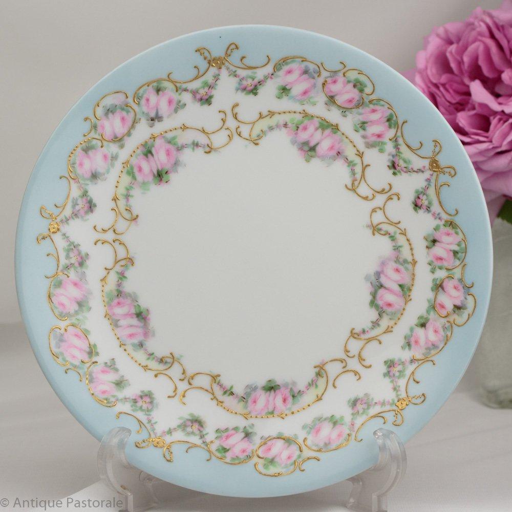リモージュ T&V ハンドペイント 薔薇と空色のケーキプレート