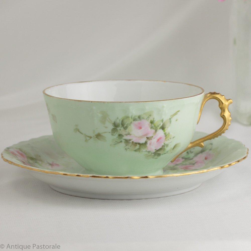 ハートハンドル マーク無し リモージュ ピンクのバラ カップ&ソーサー 1904年12月25日 オパールグリーン