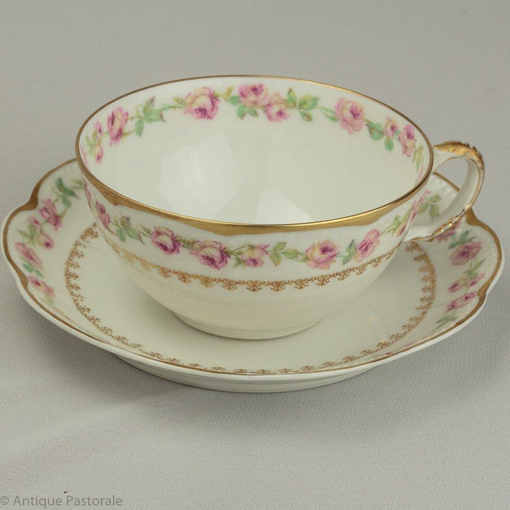 アビランド リモージュ Sch526 かわいらしい薔薇のふちどり カップ&ソーサー 1894〜1931年
