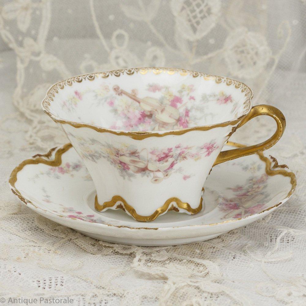 リモージュ アビランド  春の音楽と花の香り カップ&ソーサー 1888〜1896年頃