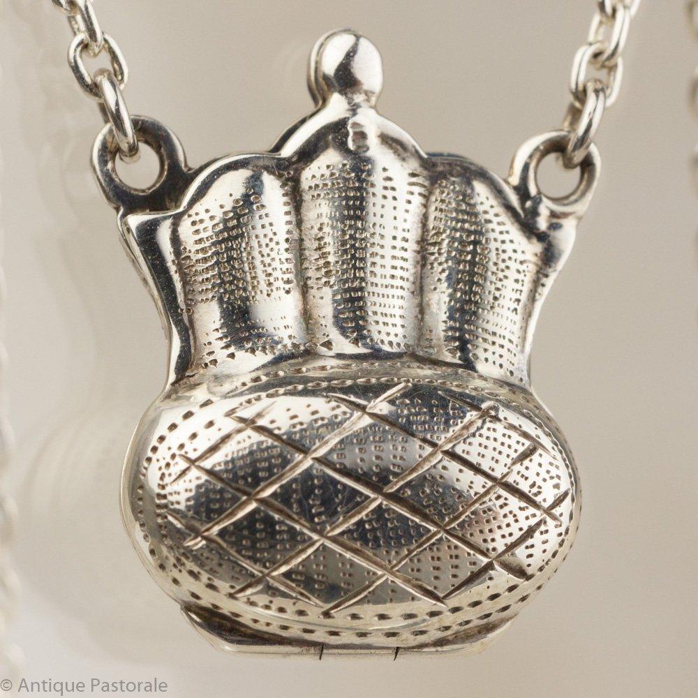 925スターリングシルバー 純銀ネックレス バッグ型