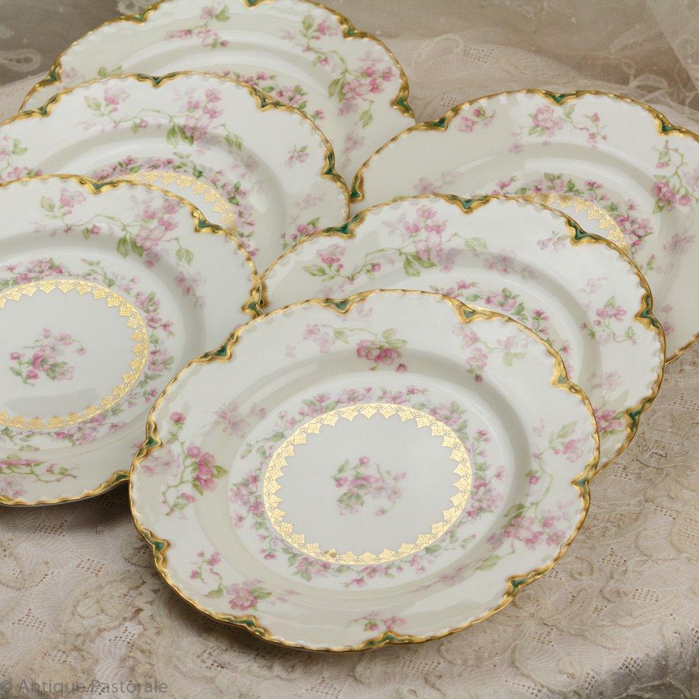 アビランド リモージュ りんごの花のランチプレート 6枚セット(エクセレント4枚+難あり2枚)