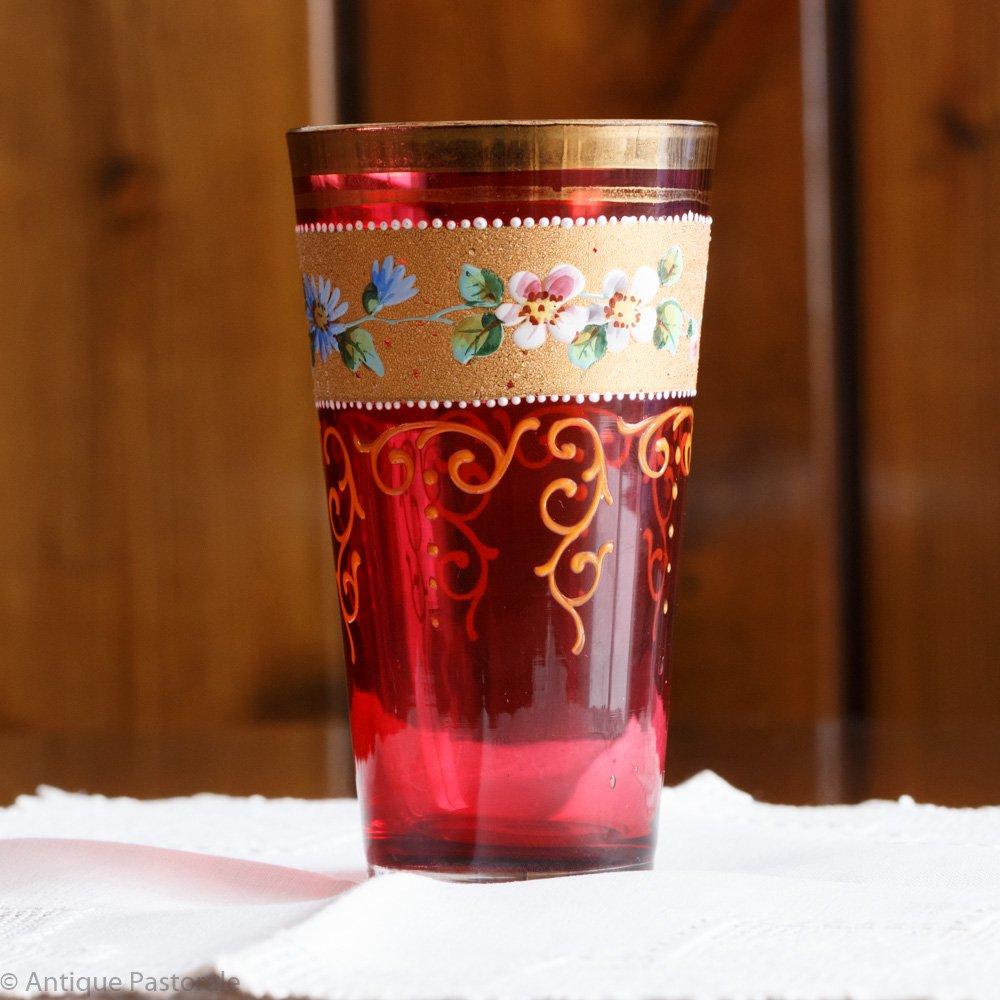 ボヘミアングラス モーゼルグラス クランベリー色 タンブラー ジュース/ウォーターグラス