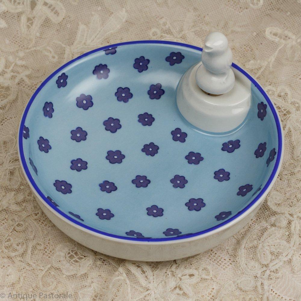 フランス ヴィンテージ リモージュ ベビーウォーミングボウル 青い花 1891以降