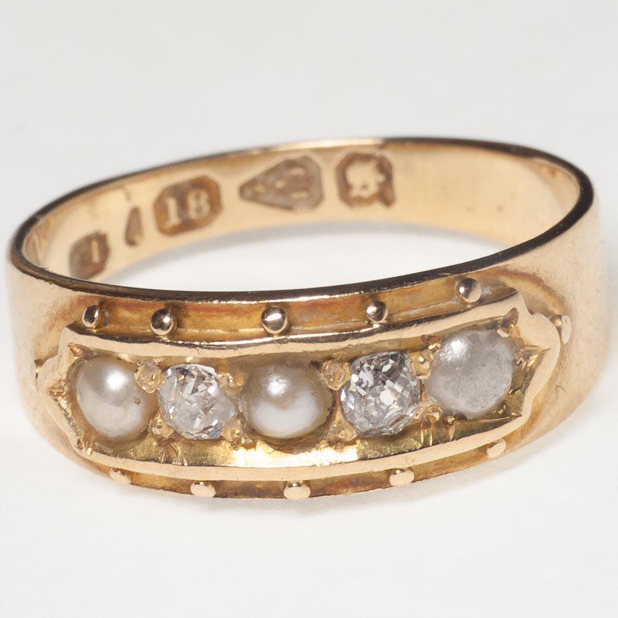 1870年 英国 18K*パール*ダイヤモンド リング