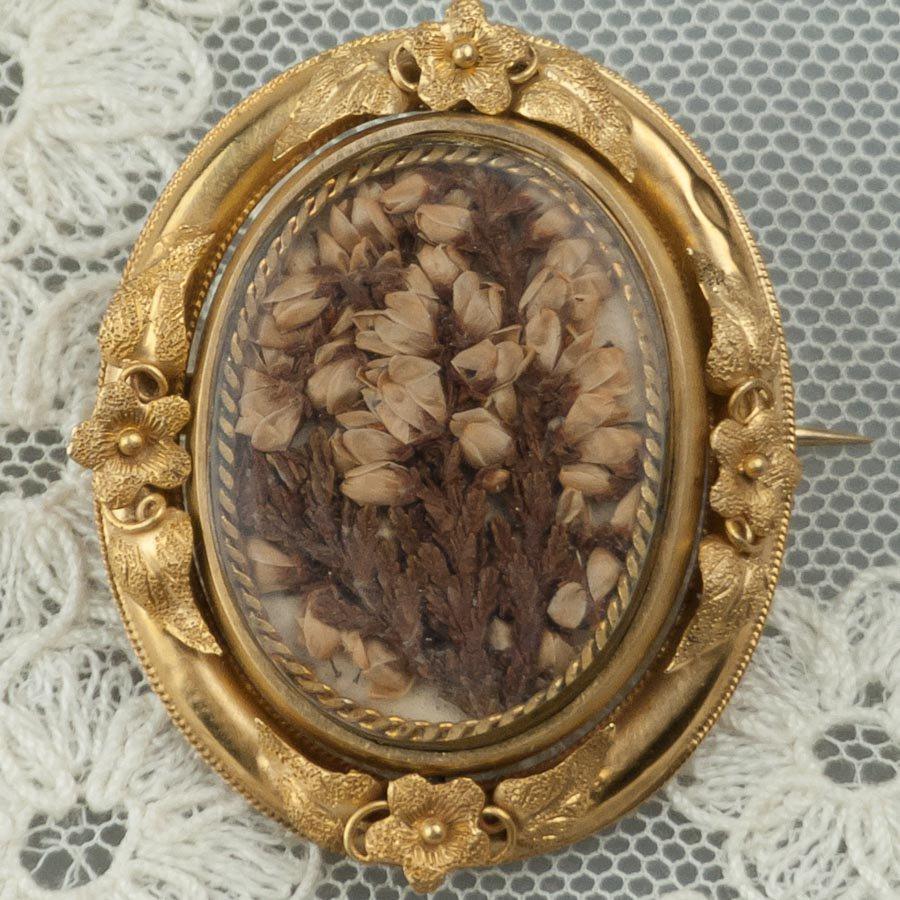 ビクトリアン 15金 ダブルロケット花のブローチ、ネックレス 1860年頃