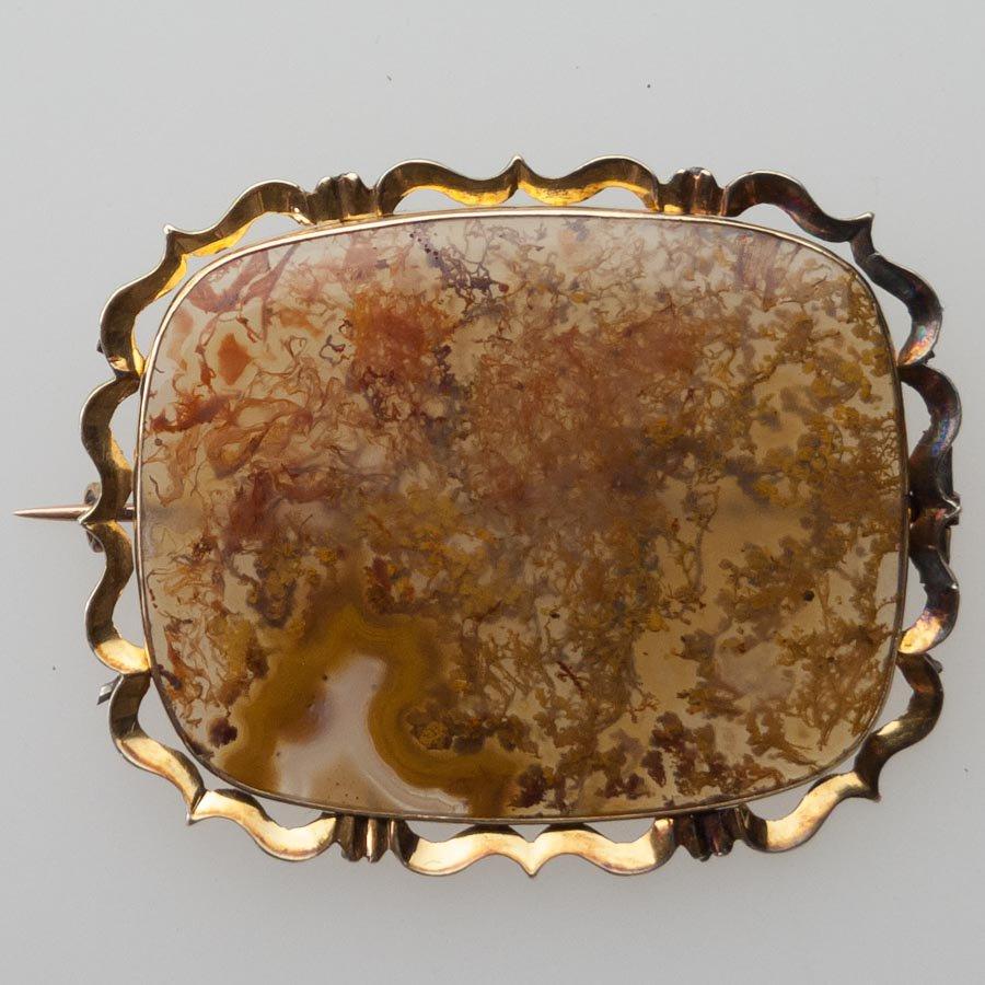 1830年頃苔メノウ(モスアゲイト)15金ブローチ
