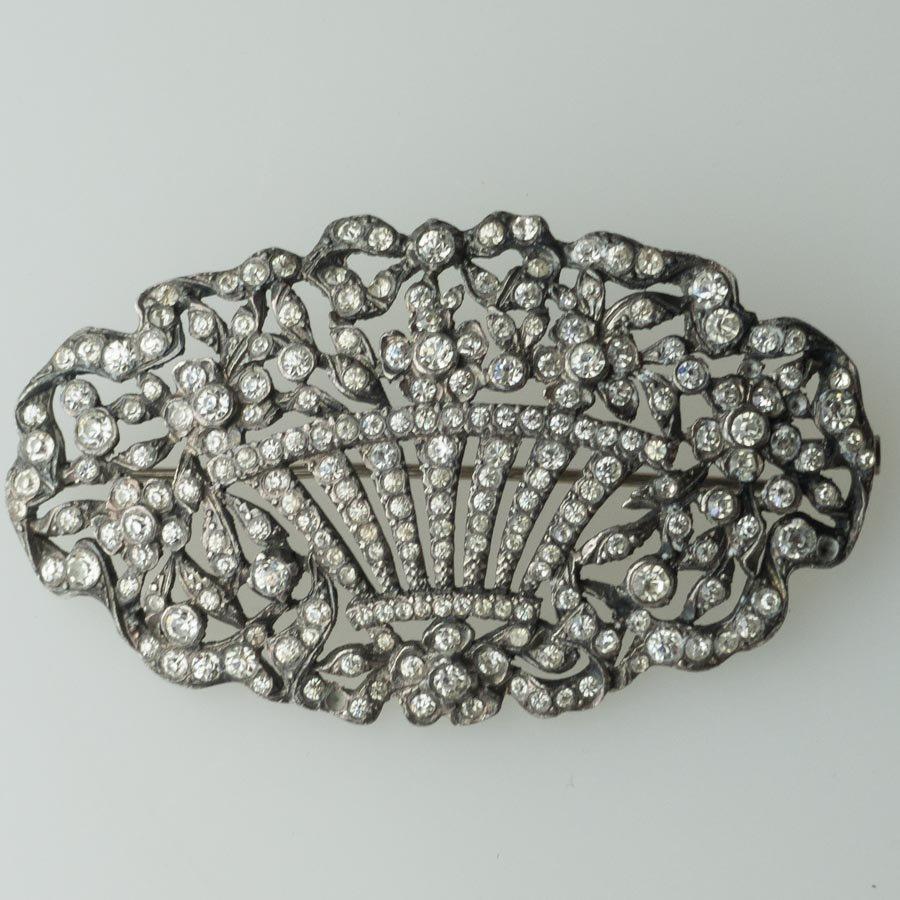 ビクトリアンシルバーガラス花かごブローチ