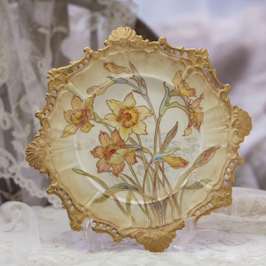 ロイヤルドルトン バーズレム アールヌーヴォー 飾り皿 「水仙」