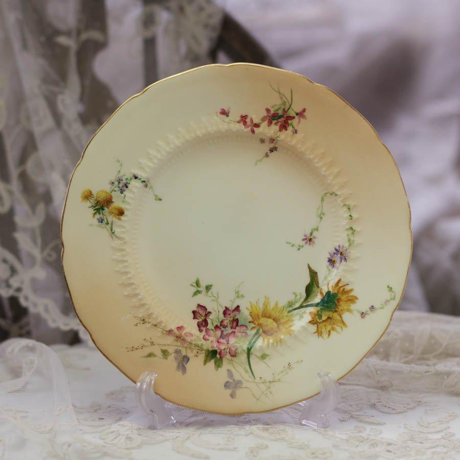 Royal Worcester ロイヤルウースター 草花の飾り皿 向日葵