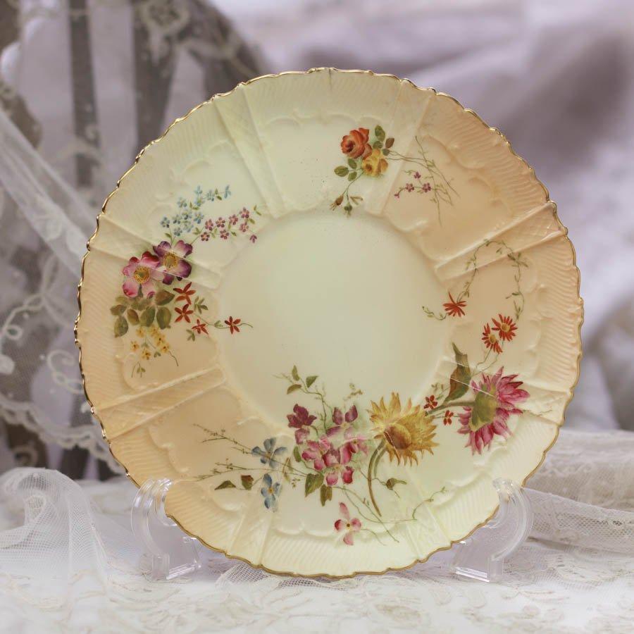 Royal Worcester ロイヤルウースター 草花の飾り皿 向日葵 1899年 ヒビ有り