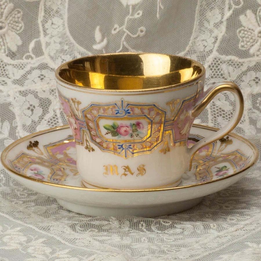 「MAS」 コーヒーカップ&ソーサー  フランス パリ 1800年代初頭