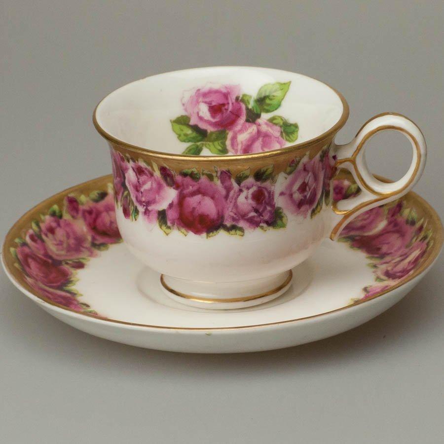 ジョージ・ジョーンズ クレッセント 薔薇のリース デミタス  1891〜1920年頃