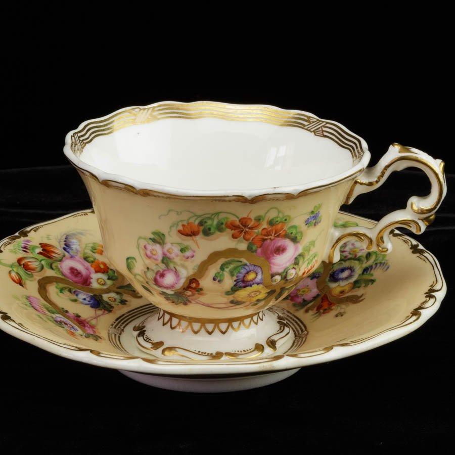 Copeland&Garrett ハンドペイント 花のカップ&ソーサー