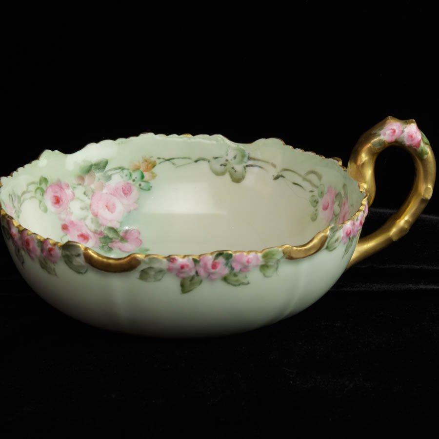 レア「Limoges Jean Pouyat リモージュ ジャンプーヤ 薔薇のフラワーハンドル ナッピー皿